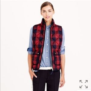 J Crew Red Buffalo Check Quilted Excursion Vest